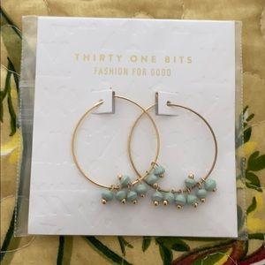 Thirty One Bits Gold tone Dangle Hoop Earrings NWT